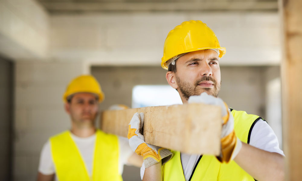 construction workers stock image