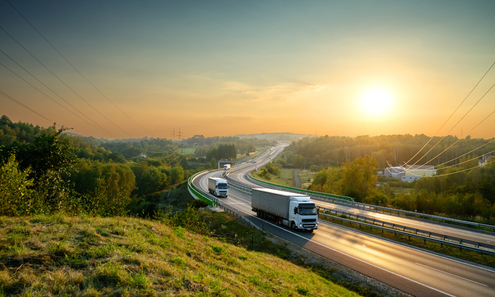 truck logistics road fence stock image