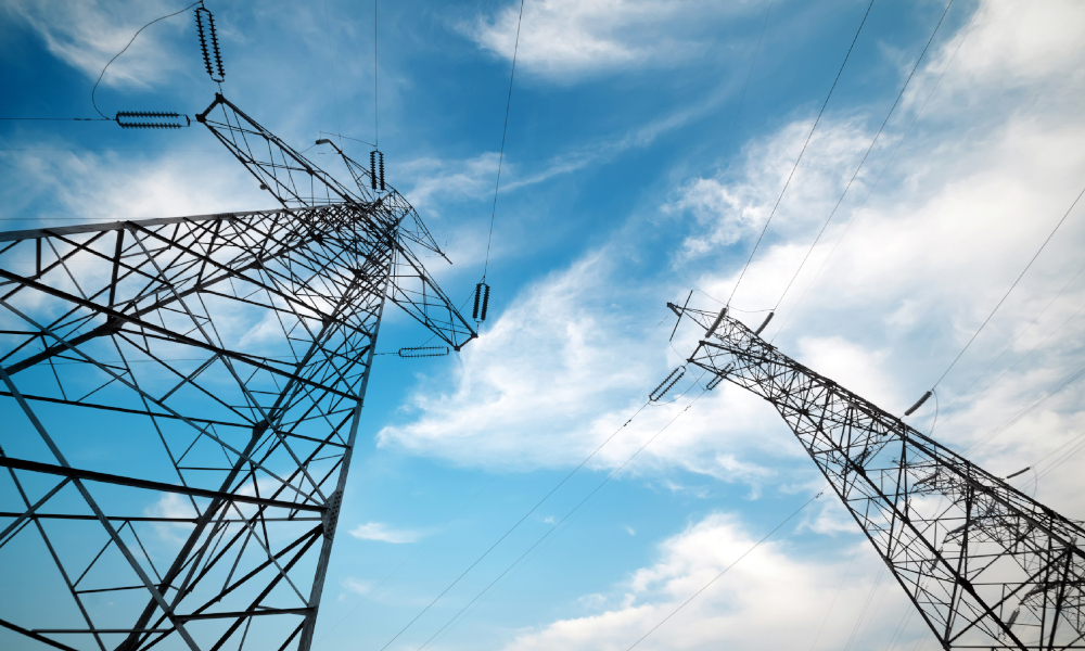 energy pylon stock image