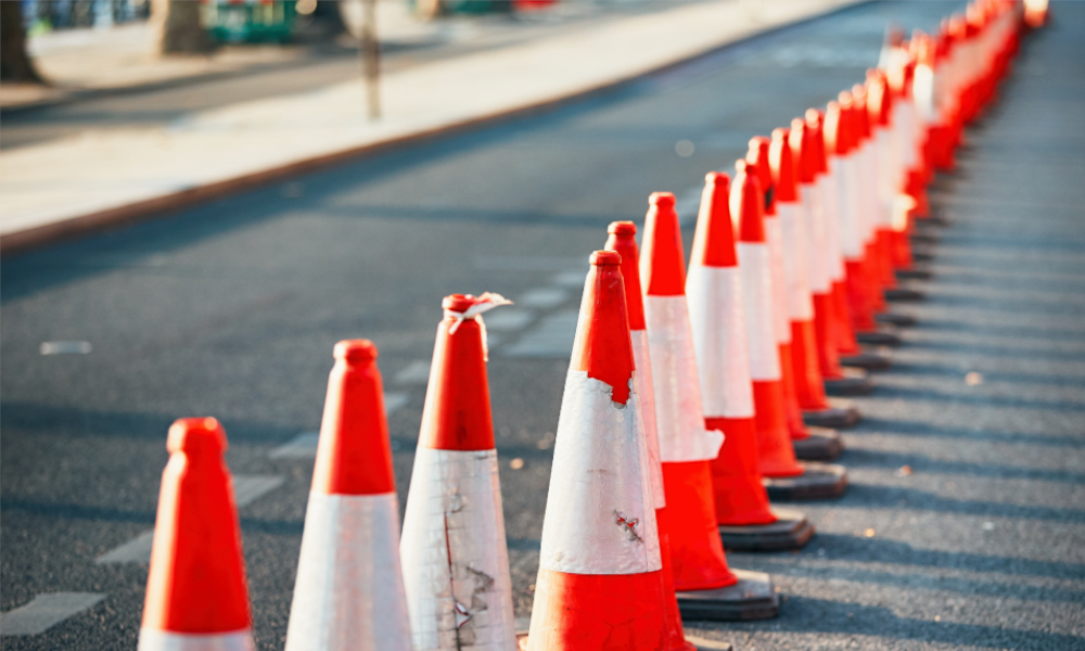 road works cones stock image