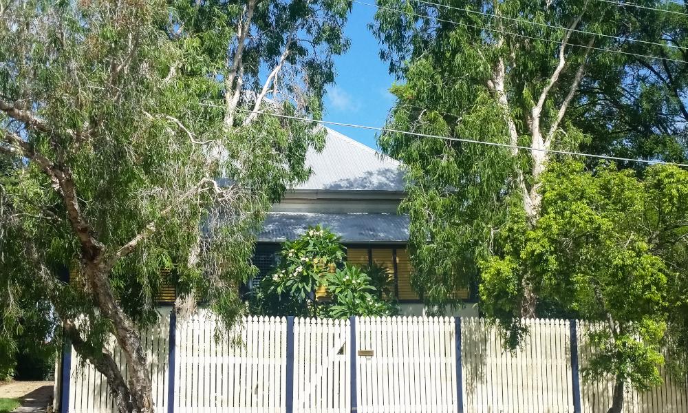 qld house fence stock image