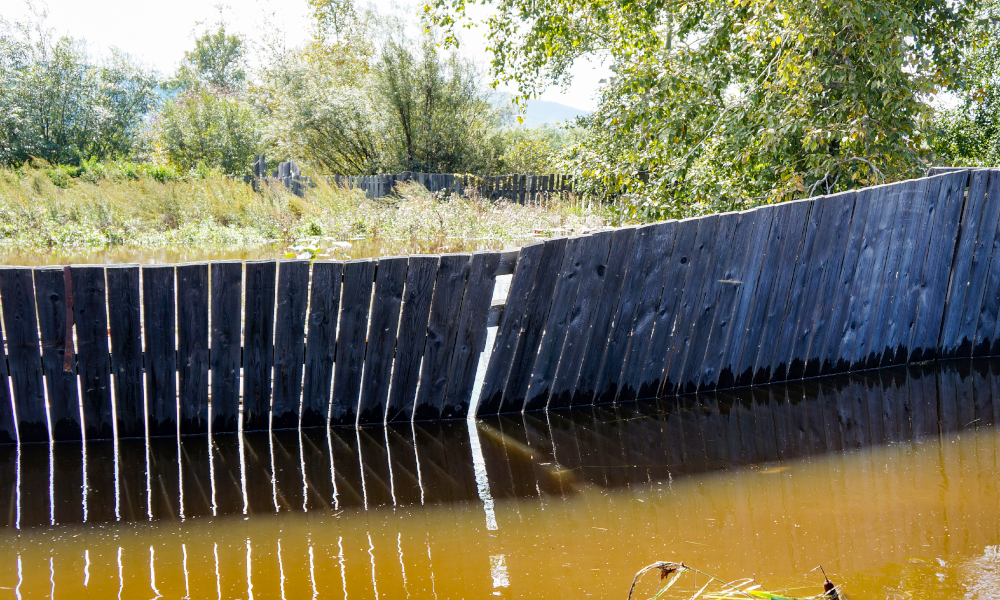 fence flooding stock image