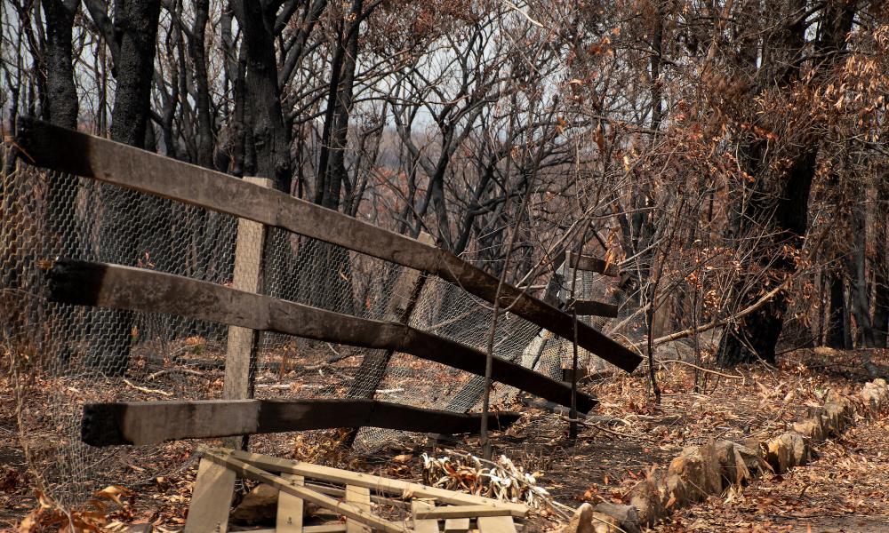 bushfire fence australia stock image