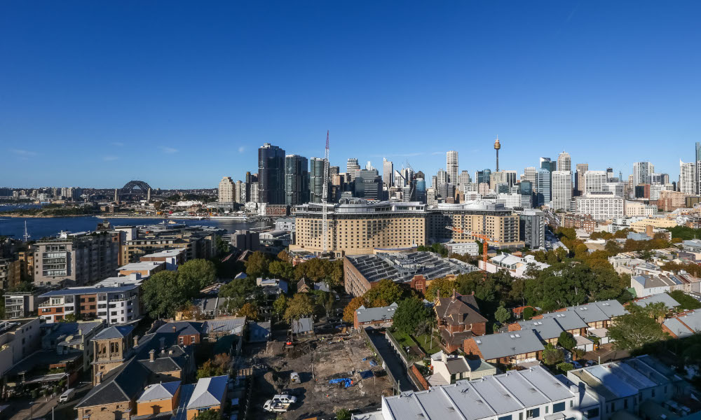 Cadigal Avenue, Pyrmont, Sydney - 20th April 2017. Rooftop view of Sydney from the McCaffreys Tower Apartments.