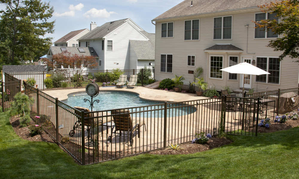 pool fencing stock image