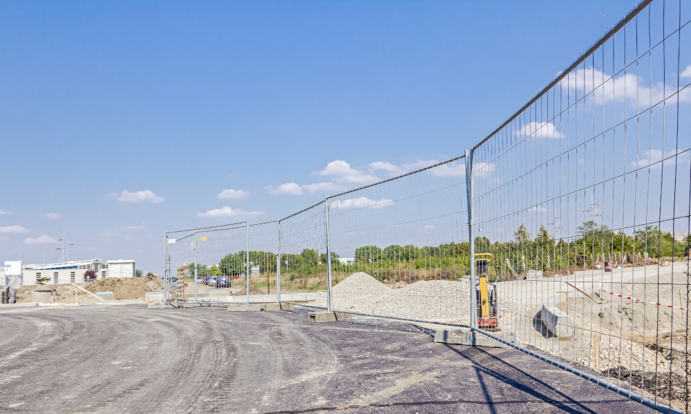 fence construction tempory fencing stock image
