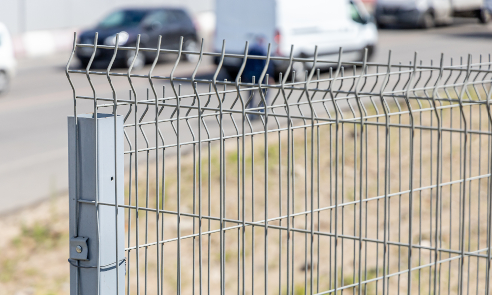 Safety fencing installed around fire-damaged buildings